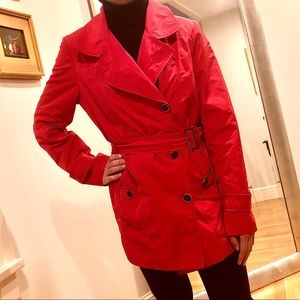 COLE HAAN Classic Red Belted Trench Coat NICE